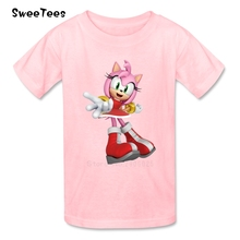Amy Rose T Shirt Kids Sonic The Hedgehog Cotton O Neck Tshirt children's Clothes 2017 Best Selling T-shirt For Boys Girls(China)