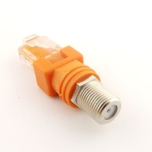1pcs F Female to RJ45 Male Coaxial Coax Barrel Coupler Adapter RJ45 to RF Connector