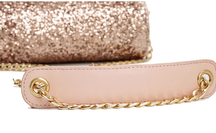 Shining Women Sequined Shoulder Bag Leather Women s Flap Bag Lay Crossbody  Bags Chain Strap Small Female Shoulder Bag Pink Color ddbbccc7c5b3