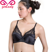 GIRLADY Women Luxury Lace Solid Bra Underwear Black White Spandex Satin Fashion Intimates Push Up Rimless Brassiere For Ladies