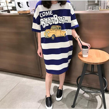 2017 Moms Clothes Summer shirts Pregnant Clothes Strip Tops O-neck Mid-Calf Casual Plus Size Maternity Dresses 9107(China)