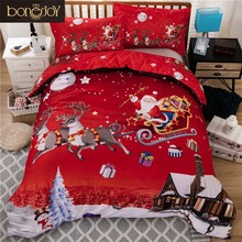 Bonenjoy Christmas Bedding Set Queen King Single Twin Red Color Santa Claus Printed Christmas Decorations Home Bedding Covers