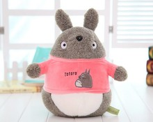 cute small Totoro plush toy stuffed totoro doll with pink coat birthday gift about 25cm