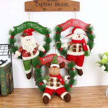 Christmas Decoration For Home Velvet Santa Claus Gift For Kids Rattan Christmas Wreath Hanging On Wall Door Christmas Pendant R7(China)