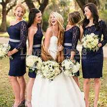 Bridesmaid Dresses One Shoulder Long Sleeve Navy Blue Lace Sheath Party Dresses Knee Length Bridesmaid Dress 2017