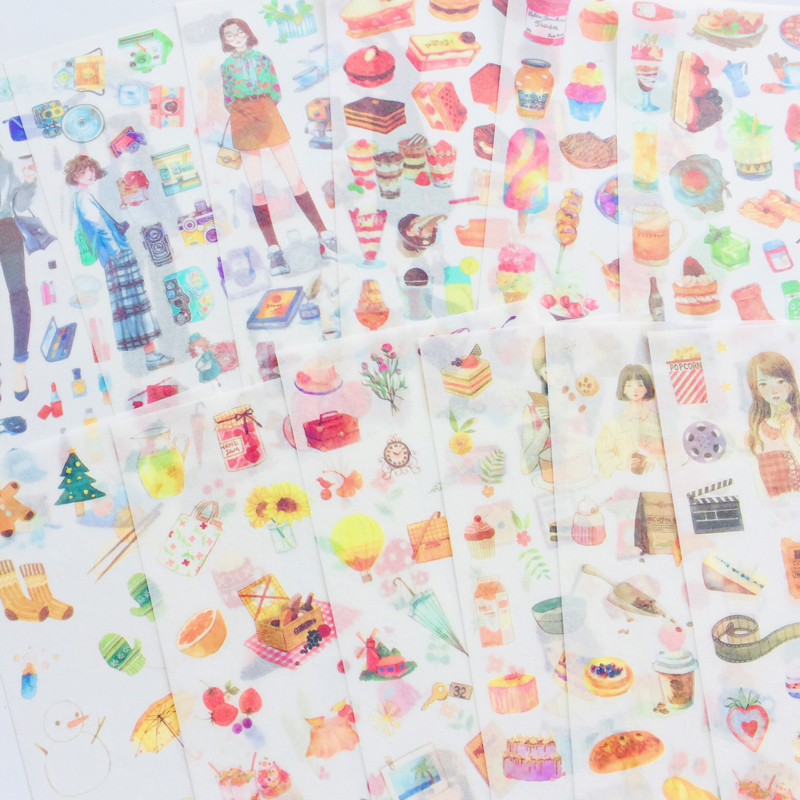 19 Style To Choose 3 Sheets /Pack Delicious Foods Girls Style Vintage Washi Paper Sticker Decorative Stickers