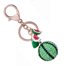 Pretty Rhinestone Watermelon Keychain Fashion Car Key Chain Ring Holder Charm Alloy Women Bag Keyring Novelty Jewelry Gift R018