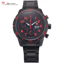 Gummy Shark Sport Watch Mens Black Red 3D Number Analog Calendar Stopwatch Quartz Stainless Steel Strap Watches +Gift Box /SH311