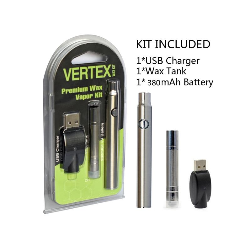 Original Mjtech Vertex Premium Wax Vaporizer Kit 380mah preheat ego battery with B1 Wax Atomizer Tank Vape pen VS MAX C8 Battery (1)