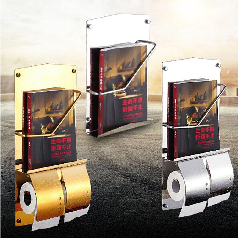2016 New Bathroo Paper Towel Holder Chrome Golden Toilet Paper Tissue Rack Newspaper Magazine Shelf<br><br>Aliexpress