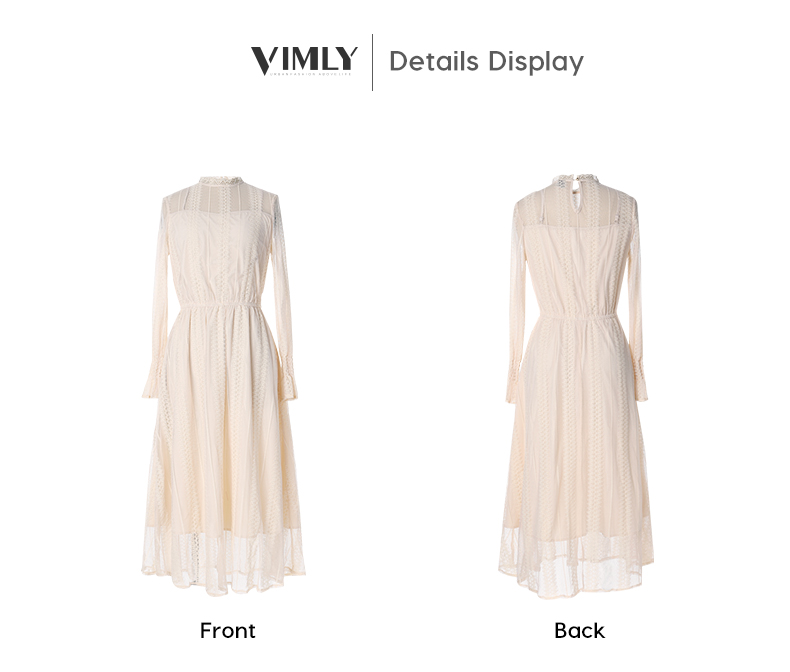 Vimly Elegant Mesh Lace Embroider Women Dress Stand-Neck Flare Sleeve Party Dresses Sexy Midi Elastic Waist Hollow Out Dress 17