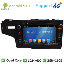 Quad Core HD 1024*600 Android 5.1.1 Car Multimedia DVD Player Radio DAB+ 3G/4G WIFI GPS Map For Honda FIT Left Hand Driving 2014