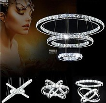Hot sale Diamond Ring LED Crystal Chandelier Light Modern Pendant Lamp Circles 100% Guarantee different size position