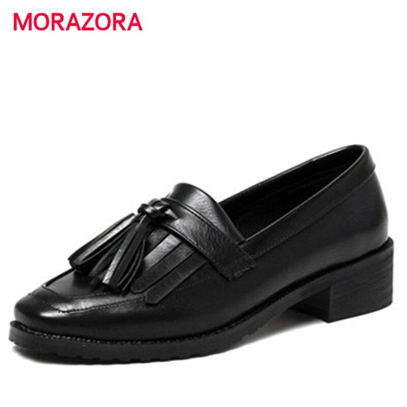 MORAZORA Spring autumn single shoes fashion retro med heels shoes PU soft leather women pumps woman shoes big size 34-43<br>