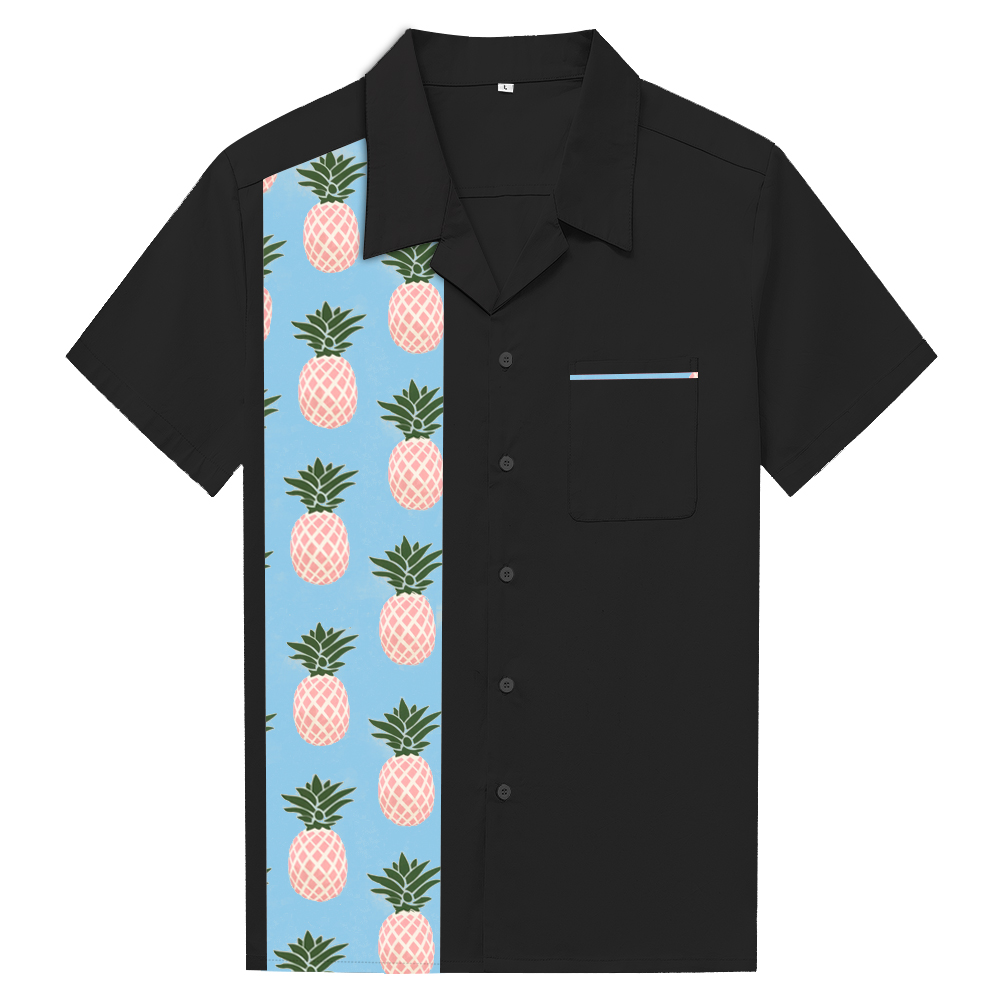 Personalized Pineapple Shirt Summer Beach Vintage Mens Shirts Short Sleeve 2019 Button Up Shirt