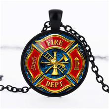 Hot New Fashion Gift for Firefighter Long Necklace Black Plated Fire Fighter Jewelry Glass Pendant Necklace