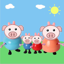 4pcs/lot Mummy Daddy plastic pig toys PVC Action Figures Family Member pig Toys Baby Kid Birthday Gift