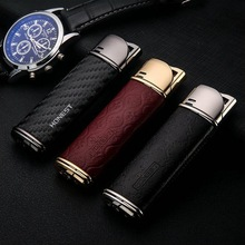 Real leather creative personality metal gas lighter. Metal lighters, business gifts.Lighters & Smoking Accessories(China)