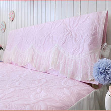 Summer pink/White/blue Romantic bed head board cover wedding decor curve lace bed textile flower quilted bedhead board towel(China)