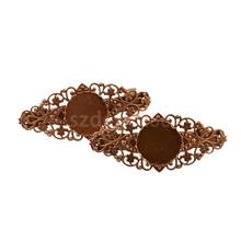 2pcs Antique Copper Vintage Filigree Hair Barrette Clips With Cabochon Blank(China)