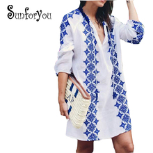 Beach Tunic Cotton Bikini Cover up Embroidery Saida Praia Tunics for Beach Women Beach Cover ups Sarong Tunique Plage Beachwear(China)