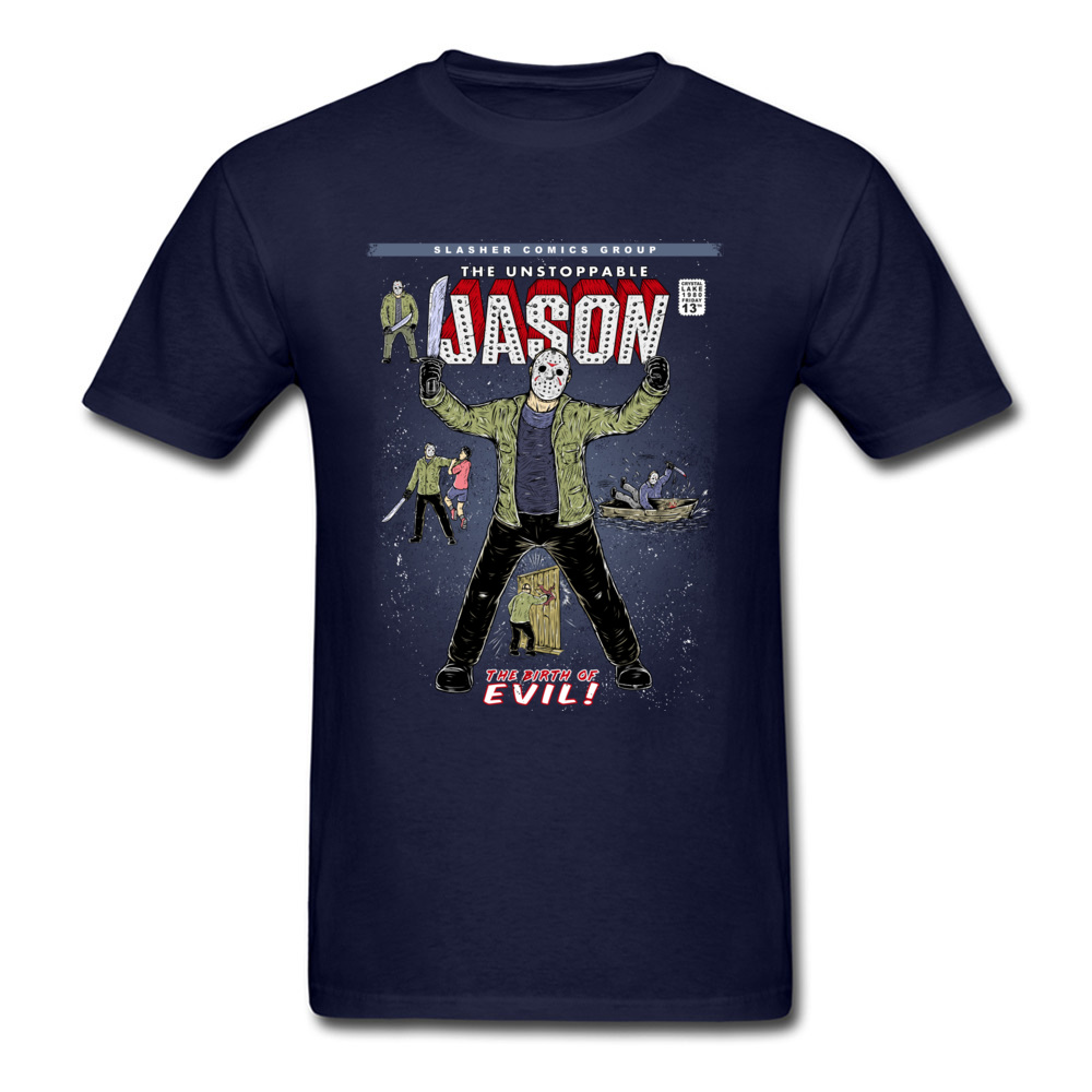 Gift T-Shirt Newest Round Neck The unstoppable Jason 100% Cotton Boy Tees Comics Short Sleeve T-shirts Drop Shipping The unstoppable Jason navy