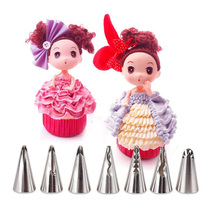 Hot Sale 7PCS/set Stainless Steel Korea Barbie doll skirt lace Nozzles Icing Piping Tips Pastry Tubes Set Cake Decorating Tools