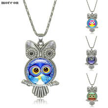 Lovely Owl Necklace Time Jewel Necklaces Vintage Silver Pendant Glass Charm Choker Sweater Chain Wholesale For Women Jewelry(China)