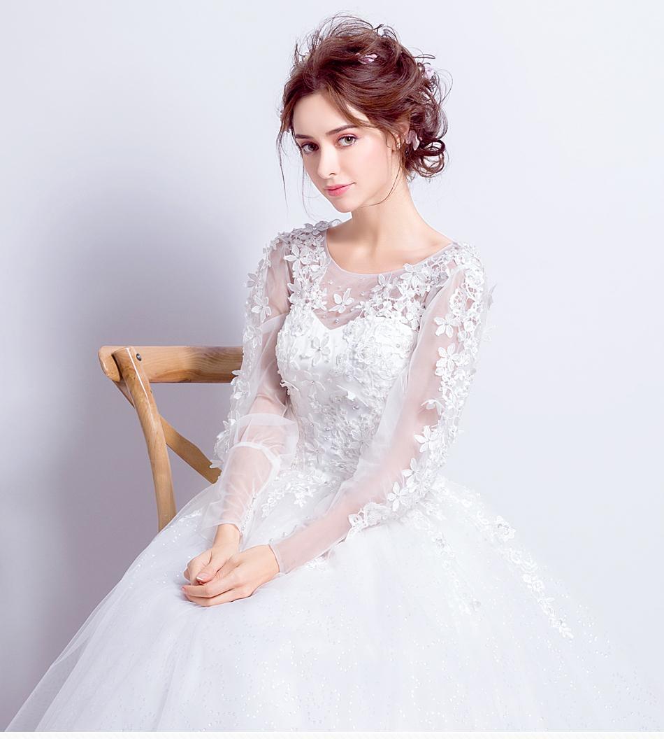 Angel Wedding Dress Marriage Bride Bridal Gown Vestido De Noiva 2017 Sweet, lace, flowers, long sleeves, 6011 1