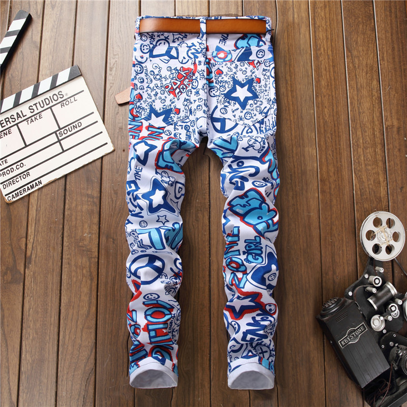 2018 Men Jeans Printed Spring Biker Hip Hop Distressed Ripped Skinny Jeans Denim Pants Cowboys Man Punk White Club Trousers