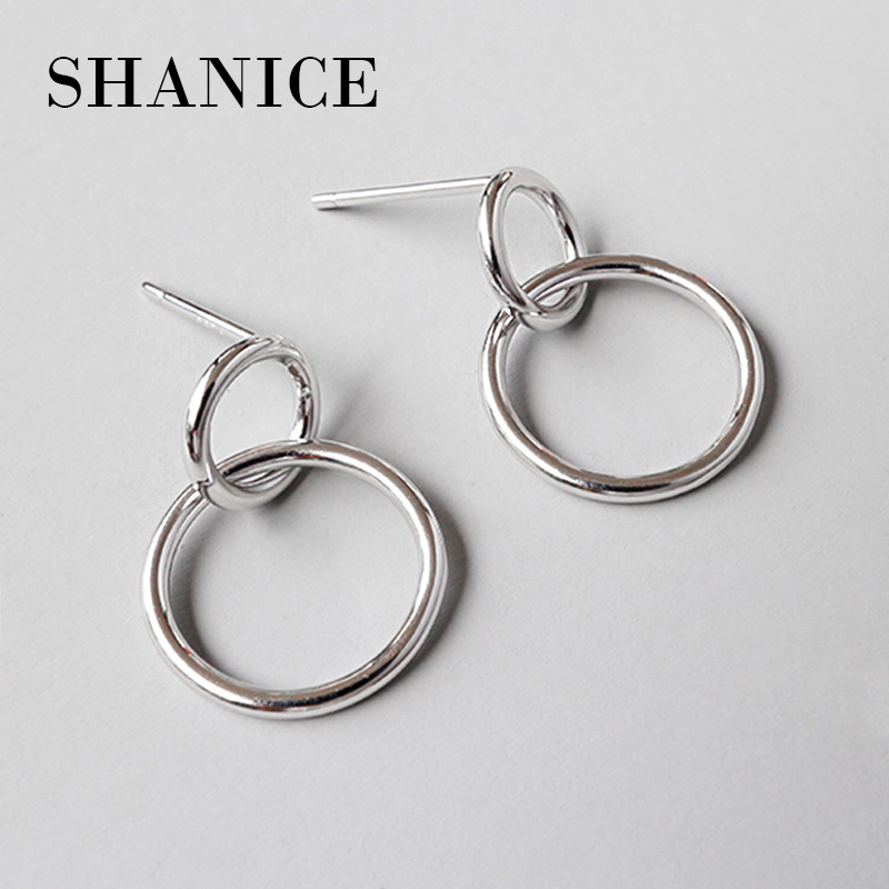 Earrings Real 925 Sterling Silver S//F Ladies Long Hook Drop Round Design