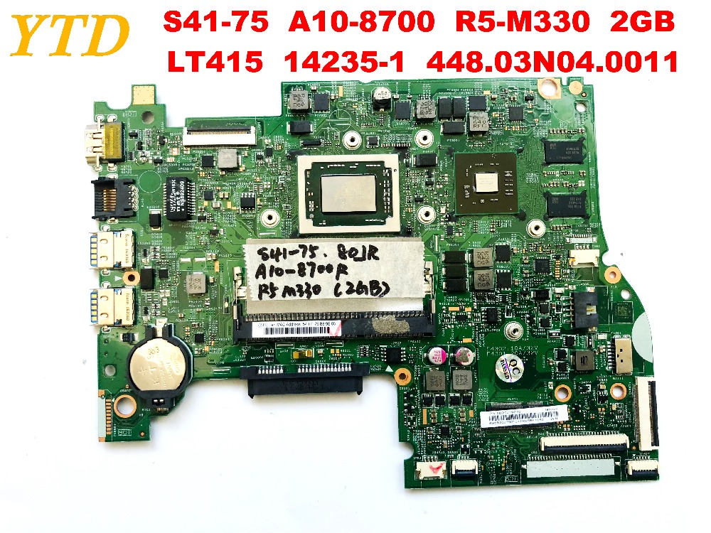 Original for Lenovo S41-75  laptop motherboard A10-8700  R5-M330  2GB  LT415  14235-1  448.03N04.0011 tested good free shipping