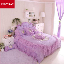 Cotton Princess Bedding Set 4pcs Lace Ruffles Pearl Decoration duvet cover bedspread bed skirt bedclothes king queen pink/purple