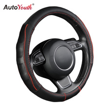 AUTOYOUTH Breathable Black Genuine Cowhide Car Steering Wheel Cover Splice Red Durable Sewing Thread Fits 38cm/15 inch Diameter