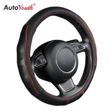 AUTOYOUTH Breathable Black Genuine Cowhide Car Steering Wheel Cover Splice Red Durable Sewing Thread Fits 38cm/15 inch Diameter(China)