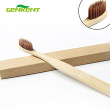 Genkent 1PCS Adult Environmentally Wood Toothbrush Novelty Bamboo Tooth brush Oral Hygiene Teeth Brush Wooden Handle(China)
