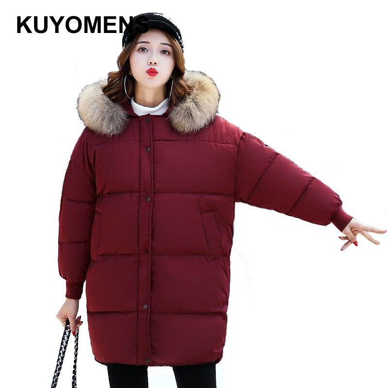 KUYOMENS High Quality Large Real Fur 2016 Winter Jacket Women Genuine Raccoon Fur Collar Hooded Thick Coat Women Winter ParkaÎäåæäà è àêñåññóàðû<br><br>