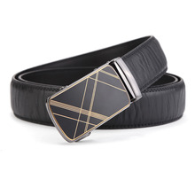 Paraweyse Men's Grain Black Leather Automatic Belt Alloy Golden Cross Lines Buckle Ratchet Dress Belts For Men 35mm Wide(China)