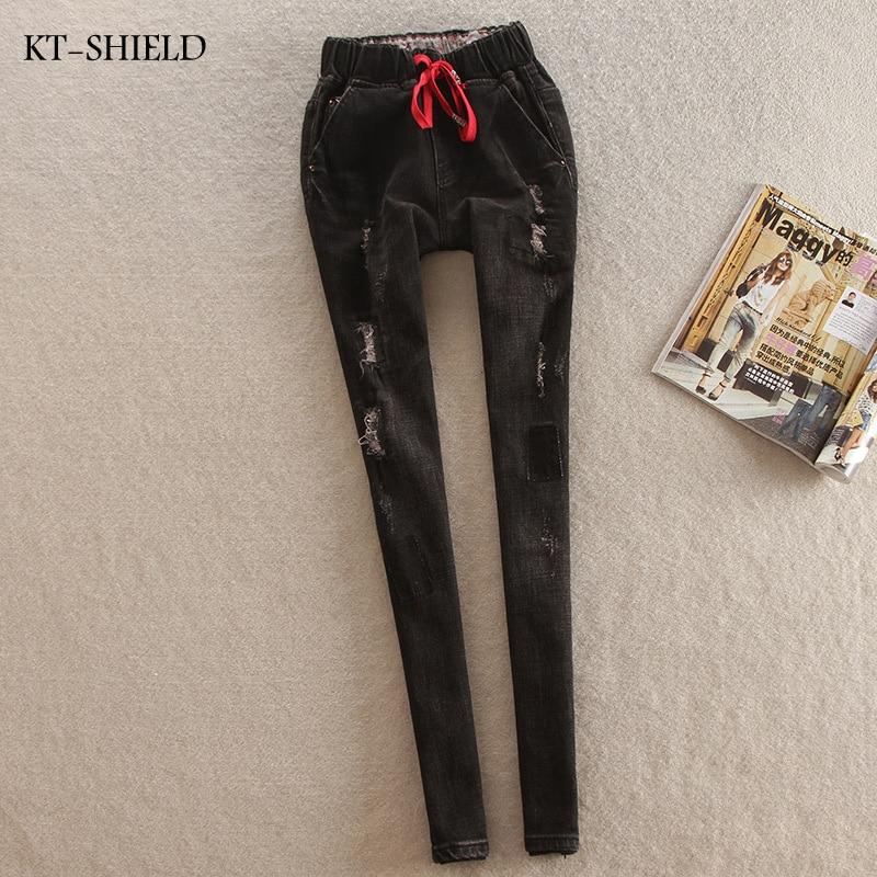 new brand casual slim ripped boyfriend Jeans Woman elastic mid waist fashion cotton jeans plus size denim harem pants for womanОдежда и ак�е��уары<br><br><br>Aliexpress