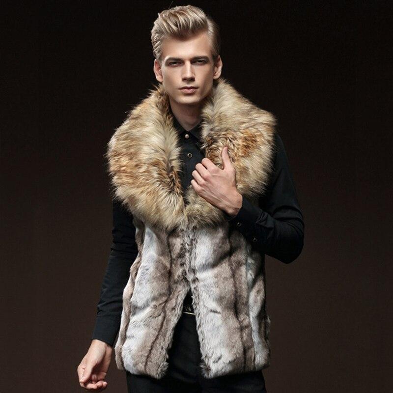 2018 Cold Winter Fur Vest Men Thick Fur Tops Mens Waistcoats Male Sleeveless Outerwear Coats Hombre Autumn Warm Brand Clothing