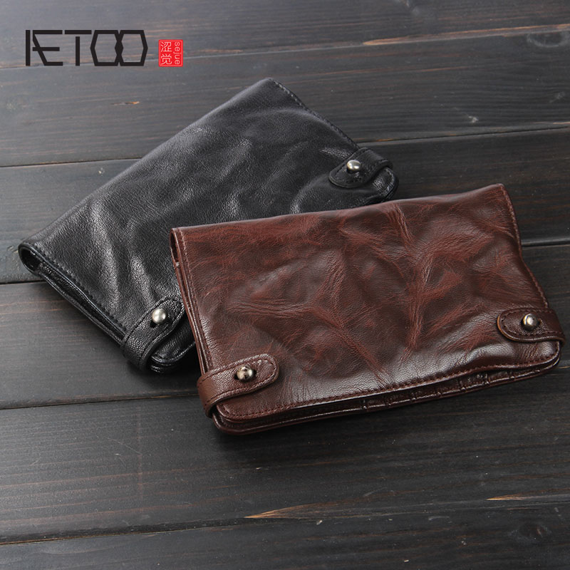 AETOO Handmade wallet Mens leather wallet Vintage fold the first layer of sheepskin long section custom hand purse   <br>