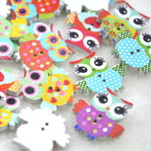 20 pcs Mix Color Baby Owl Birds Button Carton Baby Sewing Craft WB349