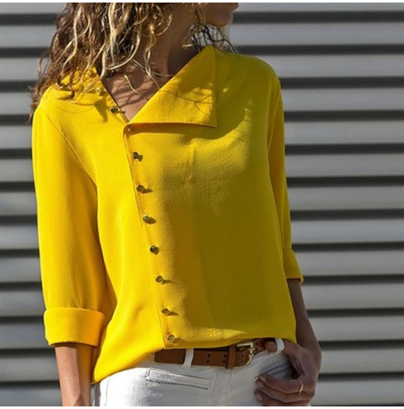 LOSSKY Fashion Long Sleeve Skew Collar Button Womens Tops And Blouses 2018 Spring Autumn Casual Streetwear Yellow Office Shirts 2