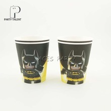 Party supplies 8PCS  Batman theme party decoration disposable tableware one-off paper cups cup glass glasses