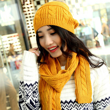 Autumn Winter Womens Warm Thick Knitted Hats Skullies Scarf Set ,  Ladies Orange Cotton Beanies , Fall Wine Red Hats For Woman
