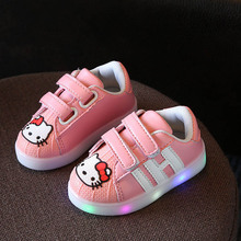 2017 New Style Kids Sneaker led baby Children Shoes hello kitty pu leather korean Girls casual Shoes with light LYJ9