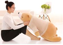 huge 110cm cartoon prone brown polar bear plush toy dressed stripes clothes bear soft doll throw pillow birthday gift b0479(China)