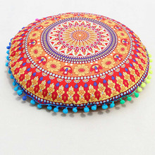 Classical Indian Mandala Floor Pillows Decorative Pillow Case Round Bohemian Polyester Seat Cushion Cushions Pillows Cover Case(China)