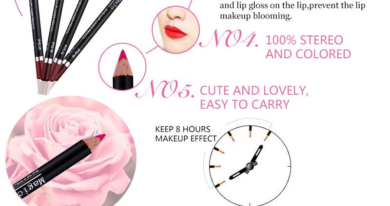 Magical Halo 12pcs/set Pro Waterproof Bright Pencil Lip Liner Pencil Makeup Cosmetic For Lips Long Lasting Lipliner Pen Lipliner 15