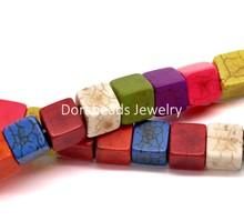 "DoreenBeads Mixed Created Howlite Gem Stone Cube Loose Beads Dyed 8x8mm(3/8""x3/8""), 39cm long, sold per packet of 2 strands(China)"